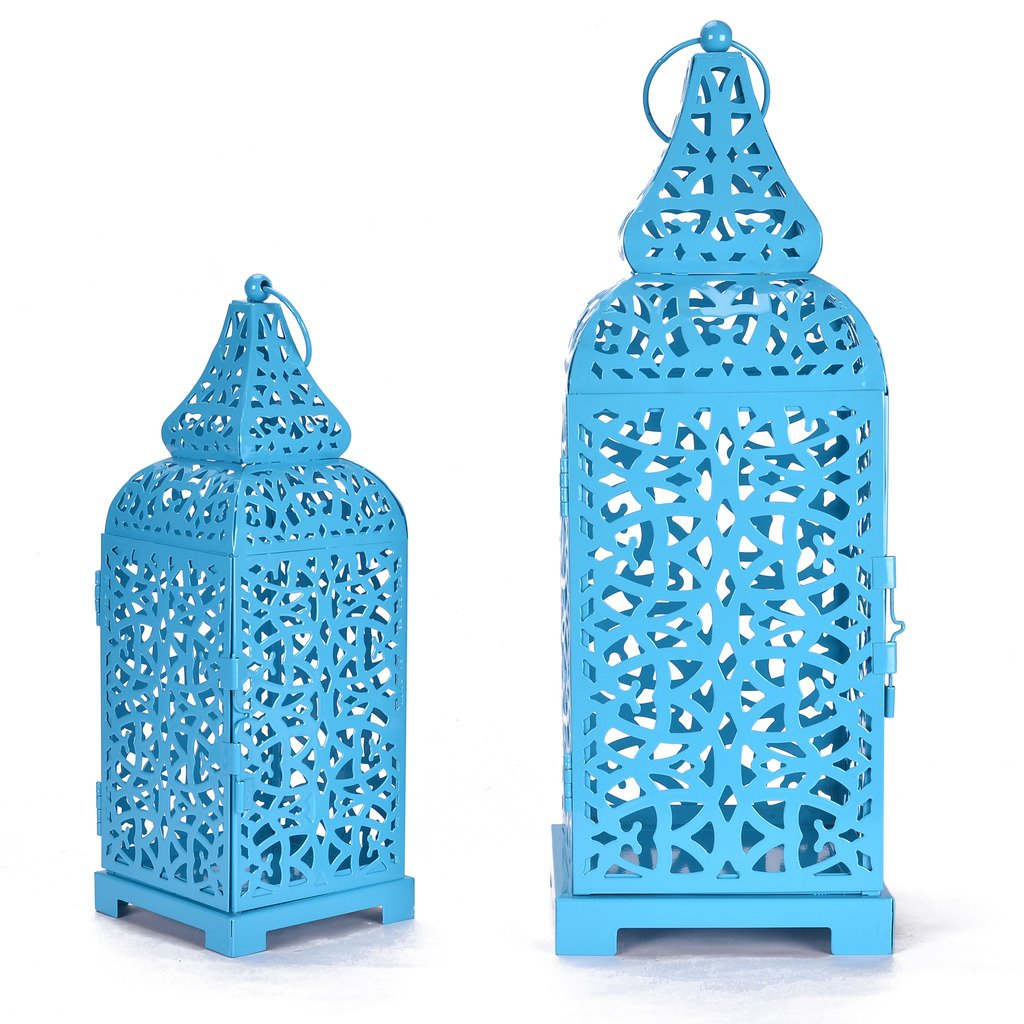 Christmas Metal Cage Set of 2 Blue Candle Stand Perfect for living Room Or Indoor Outdoor Decoration by Scrafts (Image #3)