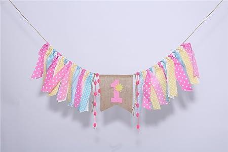 Waouh amarillo rosa Coral colores trapo Garland Banner ...