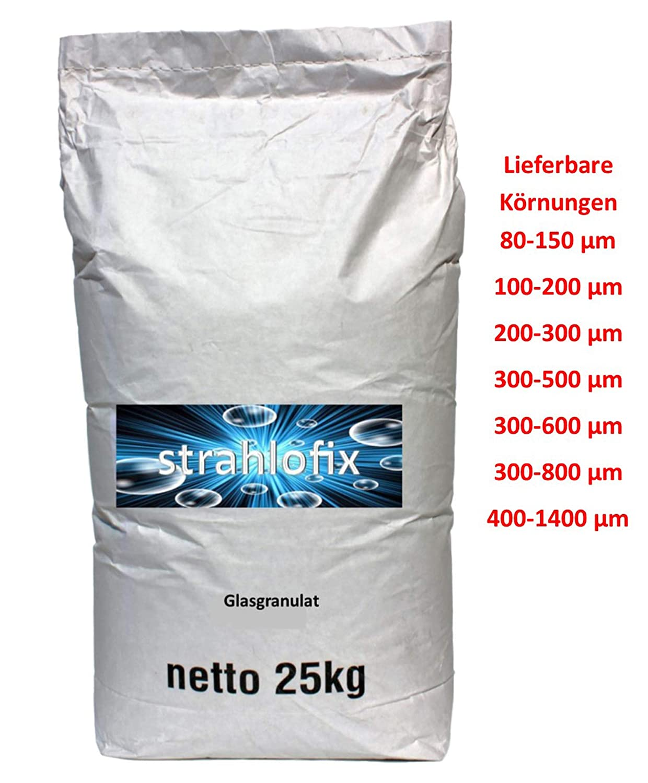 25 kg Strahlmittel Glasgranulat gebrochenes Glas 80-150 /µm