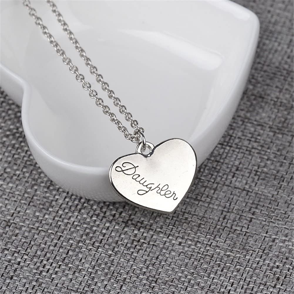 Fashion Mother /& Daughter Necklace Set of 2 Pendant Necklace Silver Heart Shape Charm Chain Jewelry Gift for Mothers Day by SamGreatWorld