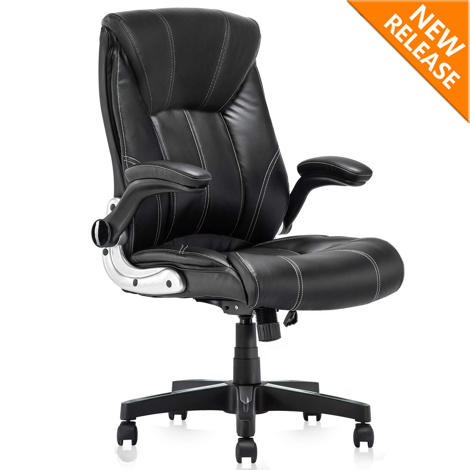 YAMASORO Leather Executive Office Chair Flip up Arm Rests,Ergonomic Chair Comfortable Massage,Computer Desk Chairs Black Task Chair with Wheels for Home Office ...