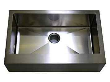 Exceptionnel Auric Sinks 30u0026quot; Farmhouse Flat Front Apron Single Bowl Sink, 18 Gauge  Stainless Steel