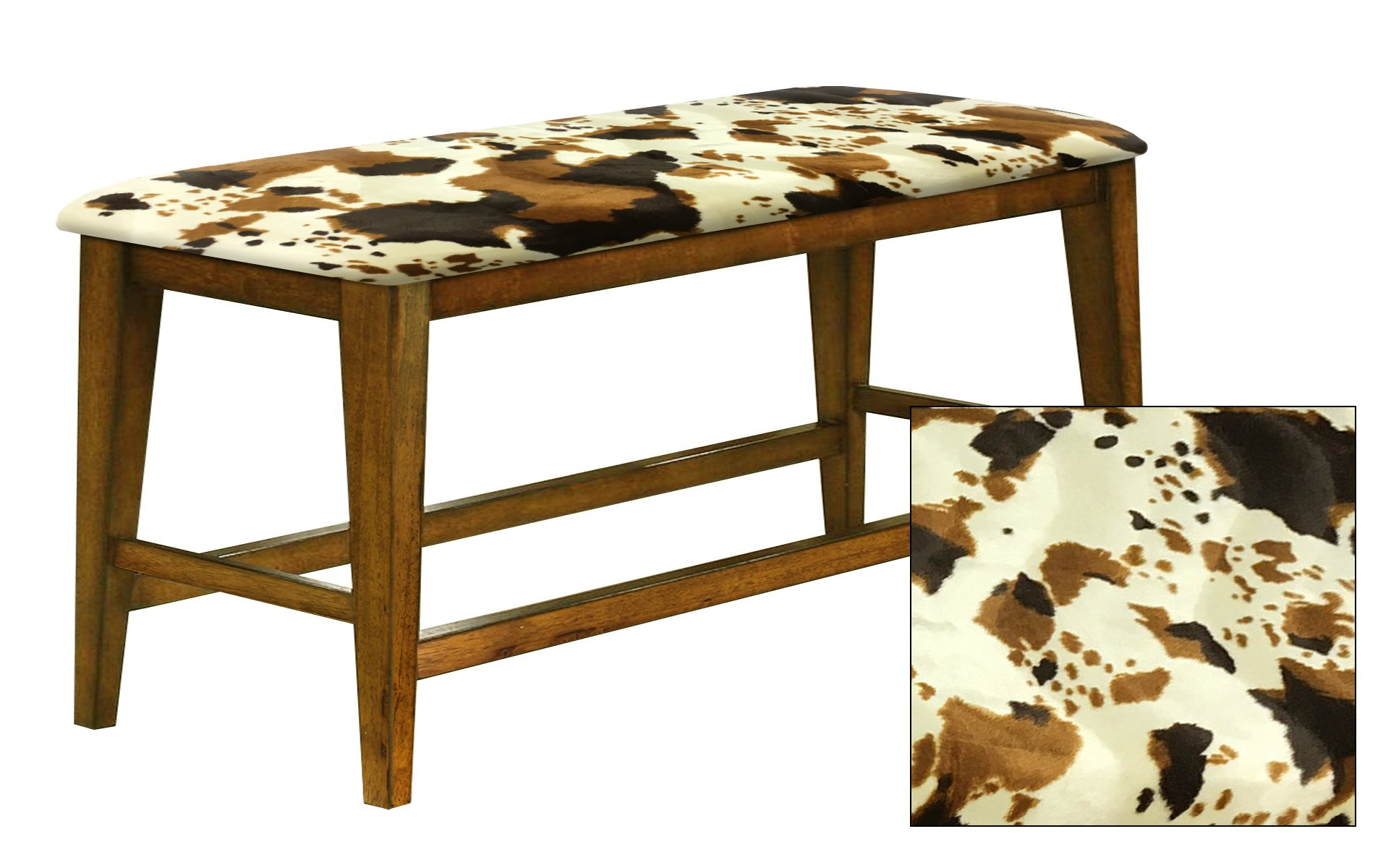 "Counter Height 25"" Tall Universal Bench in an Oak Finish Featuring a Padded Seat Cushion With Your Choice of an Animal Print Fabric Covered Seat Cushion (Cowhide Faux Fur)"