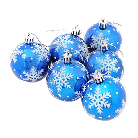 Christmas Tree Decorations Shatterproof Baubles Shiny Christmas Balls  Christmas Hanging Decoration Pack Of 6(Blue