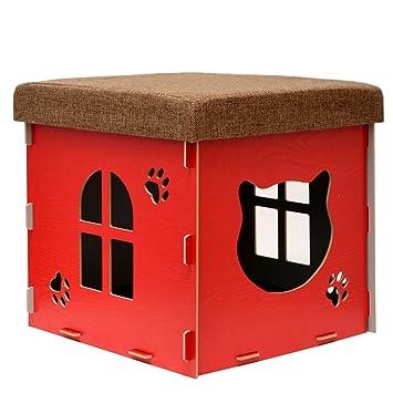 eyepower Cama para Gato 38x38x38cm pequeño S caja cuadrada para mascota con tapa acolchada para sentarse reposapiés incl alfombra rascadora Rojo: Amazon.es: ...