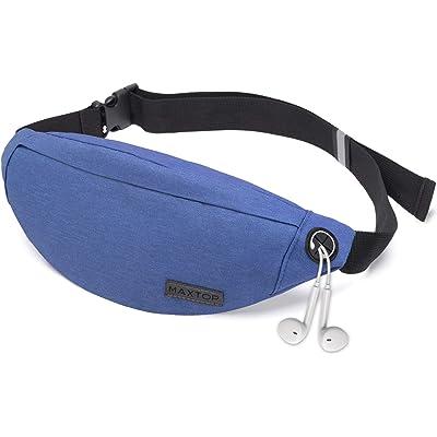 MAXTOP Fanny Pack - Riñonera Unisex con Conector para Auriculares y 3 Bolsillos con Cremallera, cinturón Ajustable, Bolsa para Entrenamiento al Aire Libre, Viajes, Casual, Correr, Senderismo (Azul)