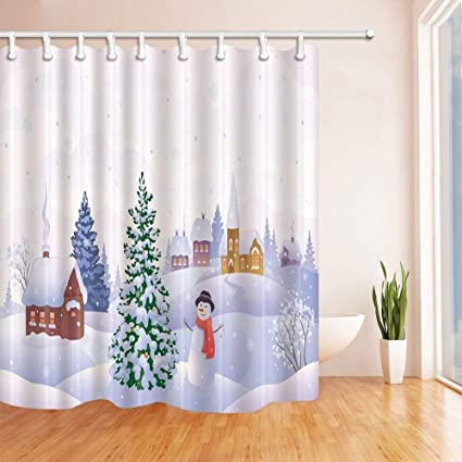 ATJSC Christmas Shower Curtains For Bathroom Snowman Tree White Snow Scenery Kids