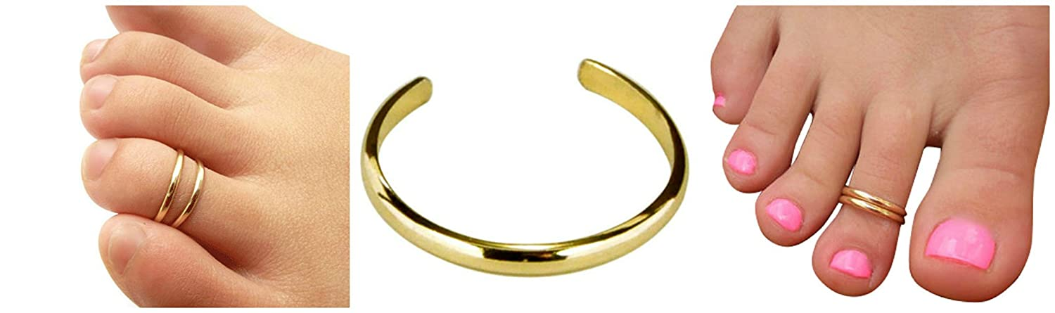 Buy One Get One Free 2mm 14K Gold Filled Plain Band Adjustable Midi Guard Toe Ring California Toe RIngs
