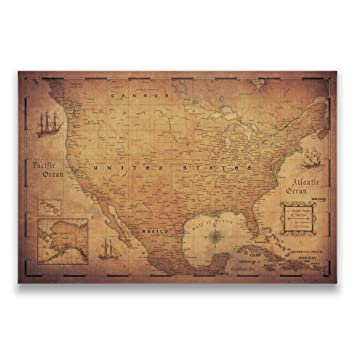 Amazon map cork board travel map of united states by conquest map cork board travel map of united states by conquest maps golden aged style sciox Image collections