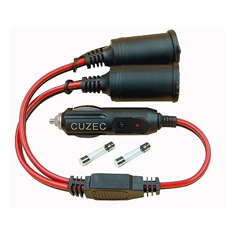 Amazon.com: CUZEC 1 a 2 encendedor de coche 16 AWG cable 12 ...