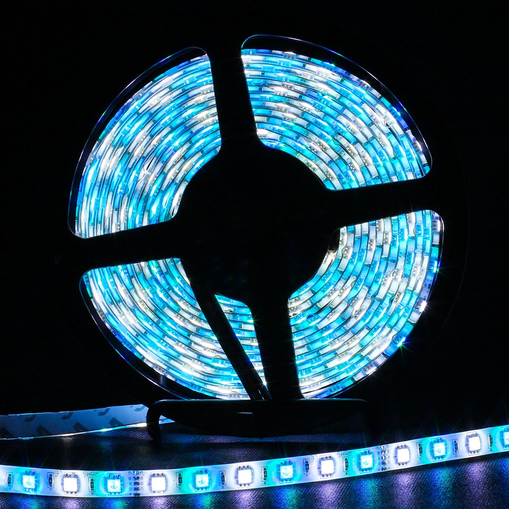SUPERNIGHT 16.4ft 5050 300leds Waterproof RGBW LED Strip Flexible Light - Black Roll by SUPERNIGHT (Image #3)
