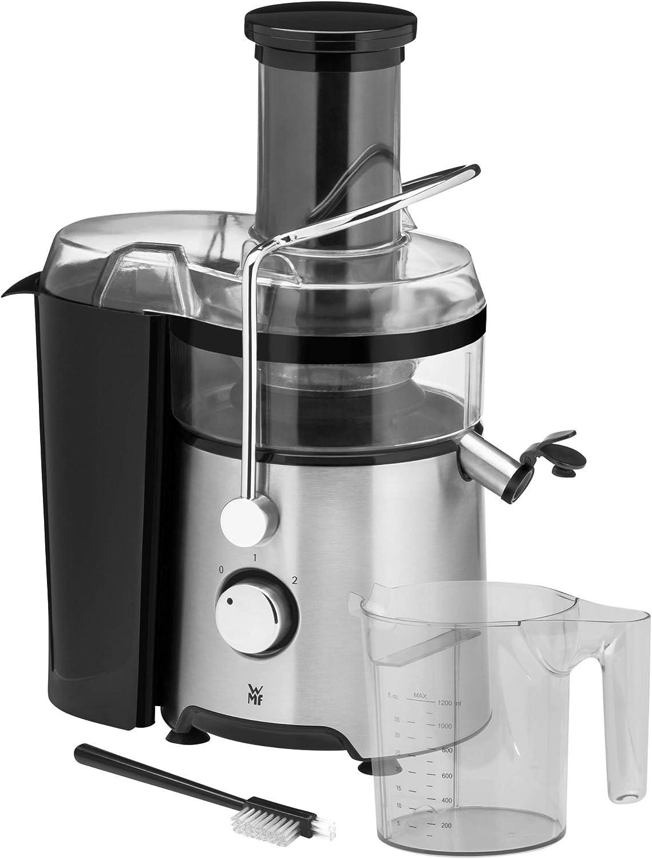 WMF Kult X - Licuadora eléctrica para frutas y verduras, 500 W, para grandes trozos de fruta, jarra de zumo de 1,2 l, filtro de espuma, 2 velocidades, acero inoxidable mate