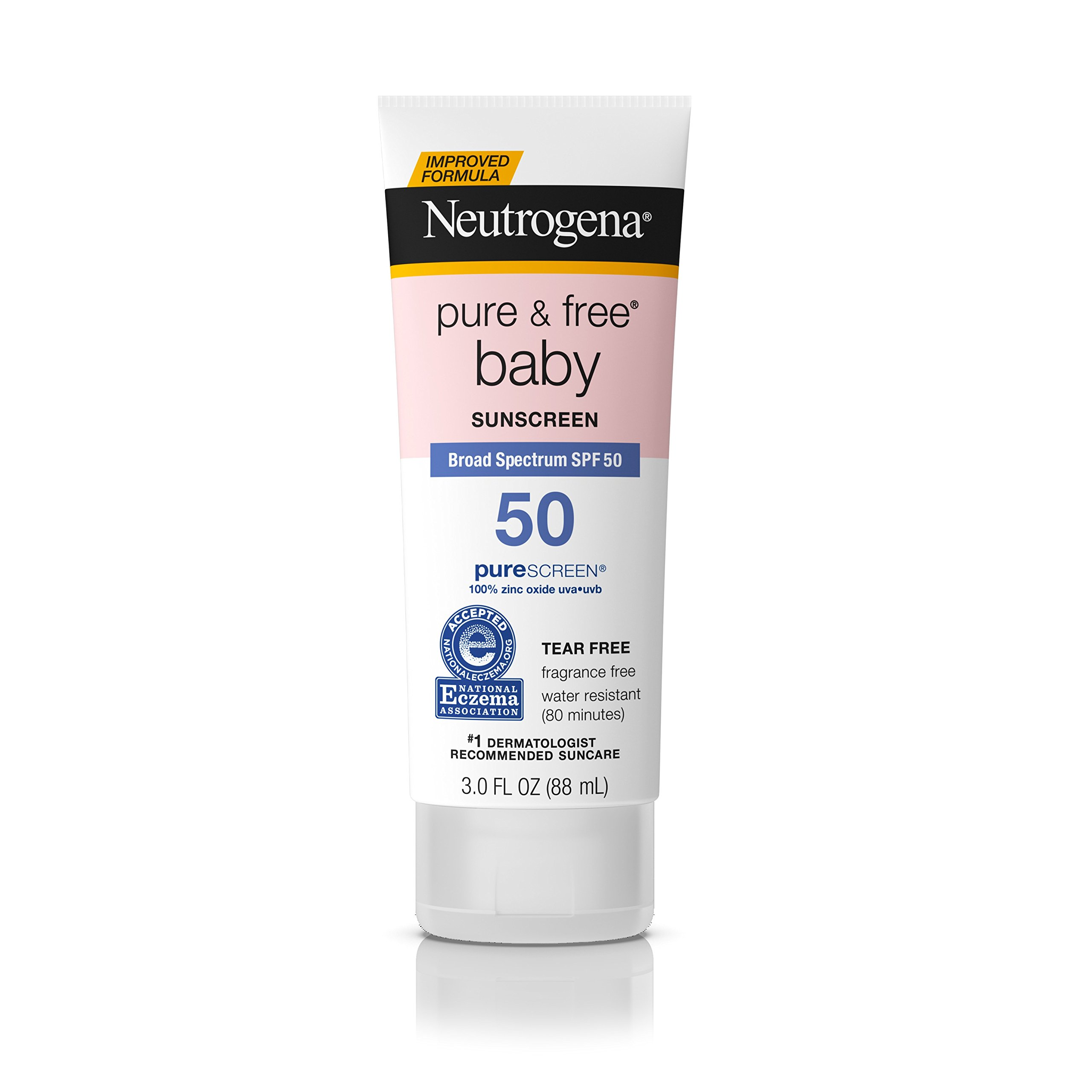 Neutrogena Pure & Free Baby Mineral Sunscreen Lotion with Broad Spectrum SPF 50 & Zinc Oxide, Water-Resistant, Hypoallergenic & Tear-Free Baby Sunscreen, 3 fl. oz by Neutrogena