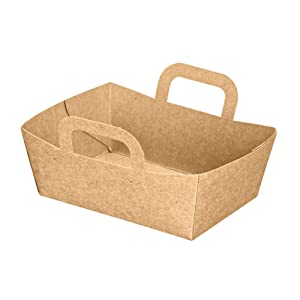 Kraft Mini Basket Trays (Pack of 500), PacknWood - Recyclable Paper Food Boats with Handles (3.75