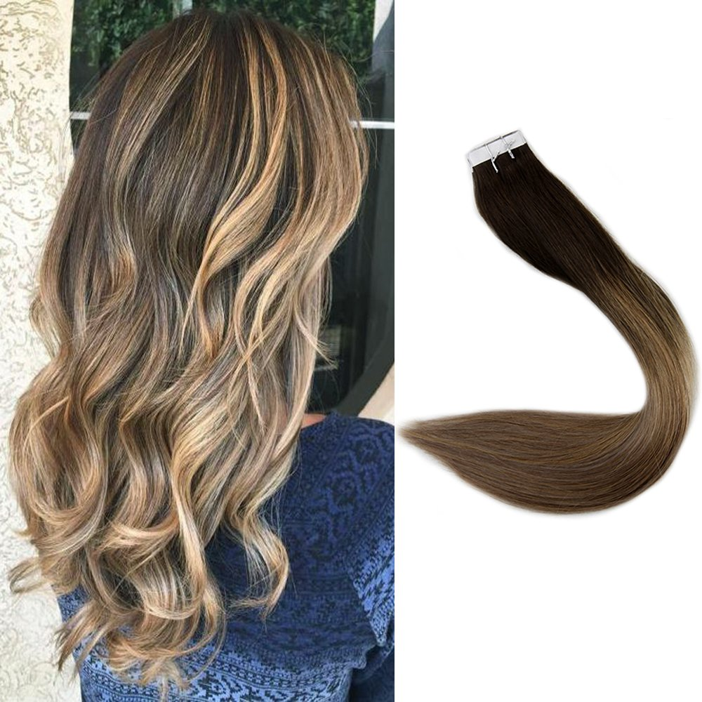 Full Shine 18 Tape Ombre Hair Extensions Full Head Remy Hair
