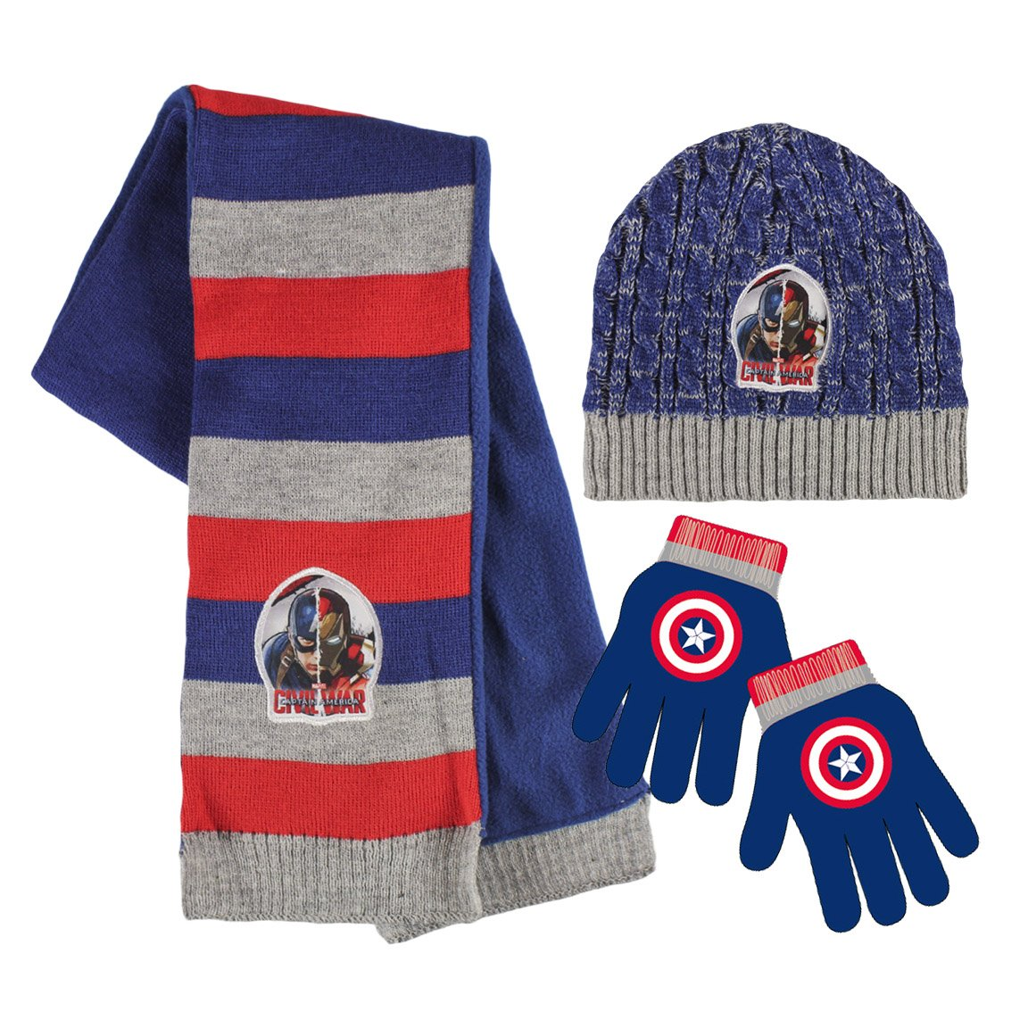 d6d07fb4e Marvel 2200001554 Civil War Captain America and Iron Man Childrens Winter  Set includes Beanie Hat/Gloves/Scarf (One Size)