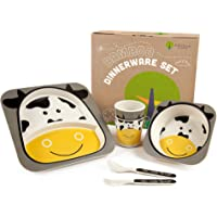 Bamboo Kids Plates and Bowls Sets | Non Toxic & Eco Friendly | 5 Pcs Includes Toddler Plates Set | Cute Animal Designs…