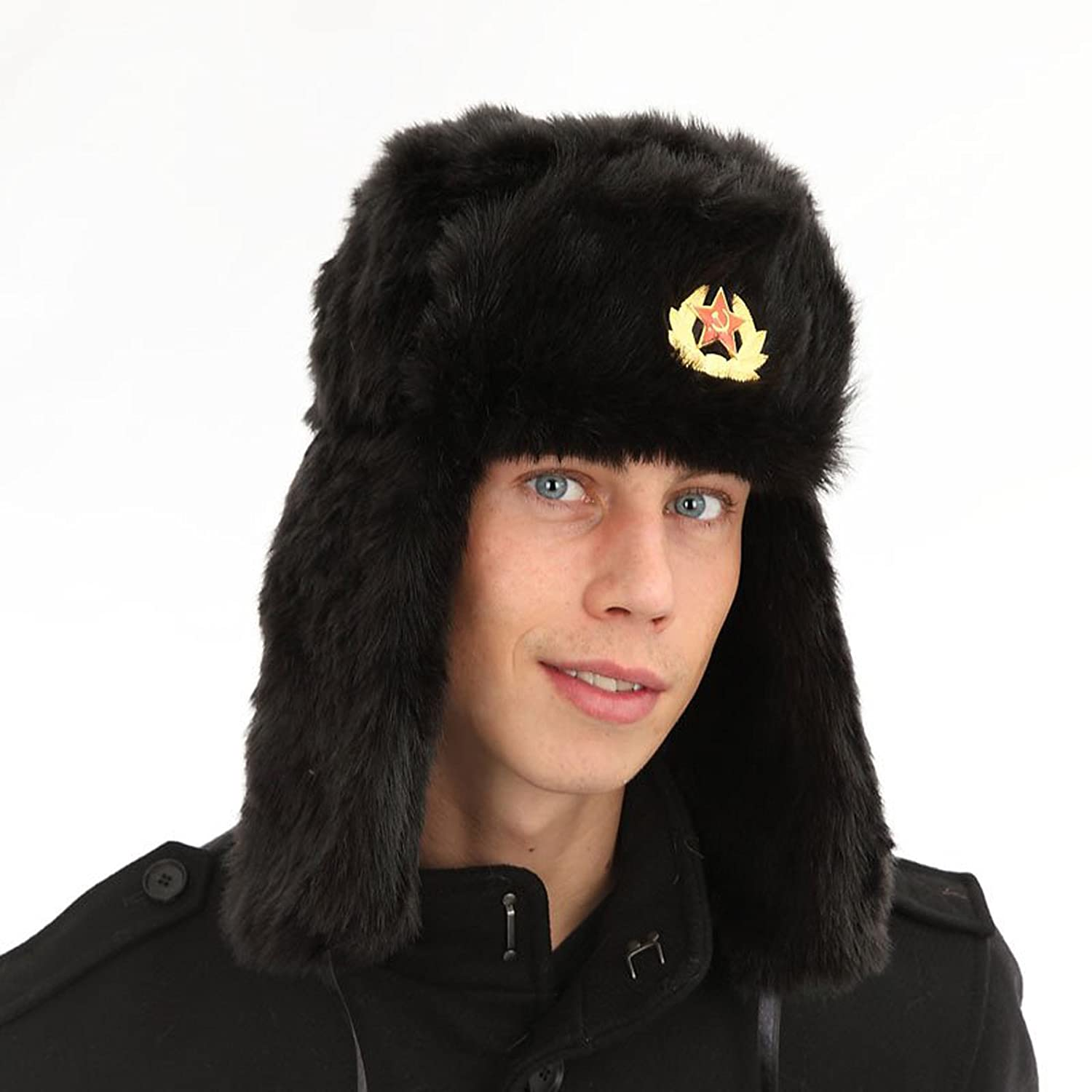 Black Faux Fur Russian Ushanka Hat. 59cm Trapper hat removable soviet badge  Top Christmas gifts 2018 e1440f744f6
