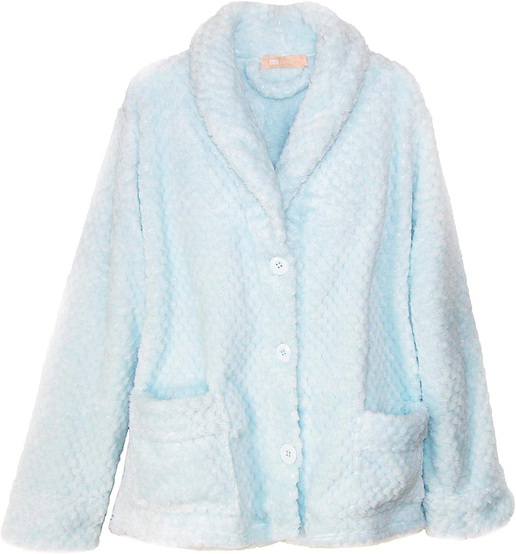 LA CERA Women's 100% Polyester Honeycomb Fleece Bed Jacket 8825