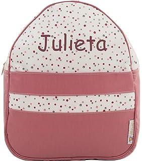 Mochila o Bolsa Infantil lencera Personalizada con Nombre en plastificado Rosa bodoques Gris y Cinta Vichy Gris