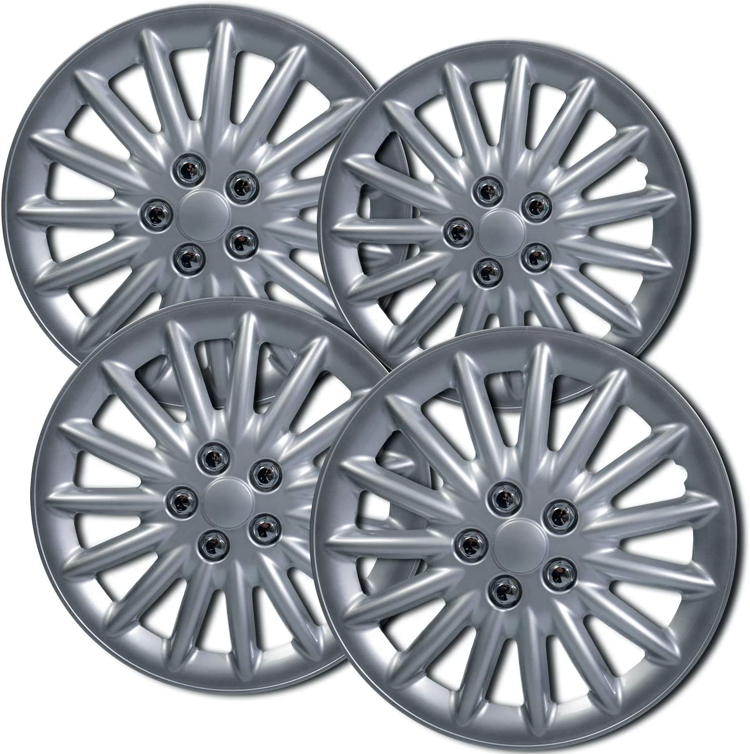 Amazon Com 16 Inch Hubcaps Best For 2013 2018 Nissan Leaf Set Of 4 Wheel Covers 16in Hub Caps Silver Rim Cover Car Accessories For 16 Inch Wheels Snap On Hubcap