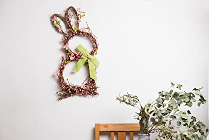Evertrust Artificial Easter Spring Summer Seasonal Door Silk Flower Wreath  Wall Hanging Decorations (Candy Rabbit