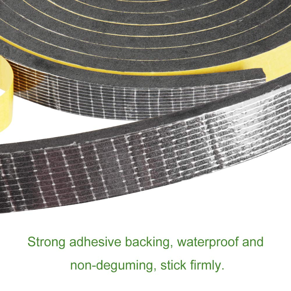 Closed Cell Foam Seal Strip 1//2Wx1//8Tx16FT Single Sided Foam Strips Adhesive High Density Foam Seal Tape Foam Tape Weatheratrip for Door and Window Insulation