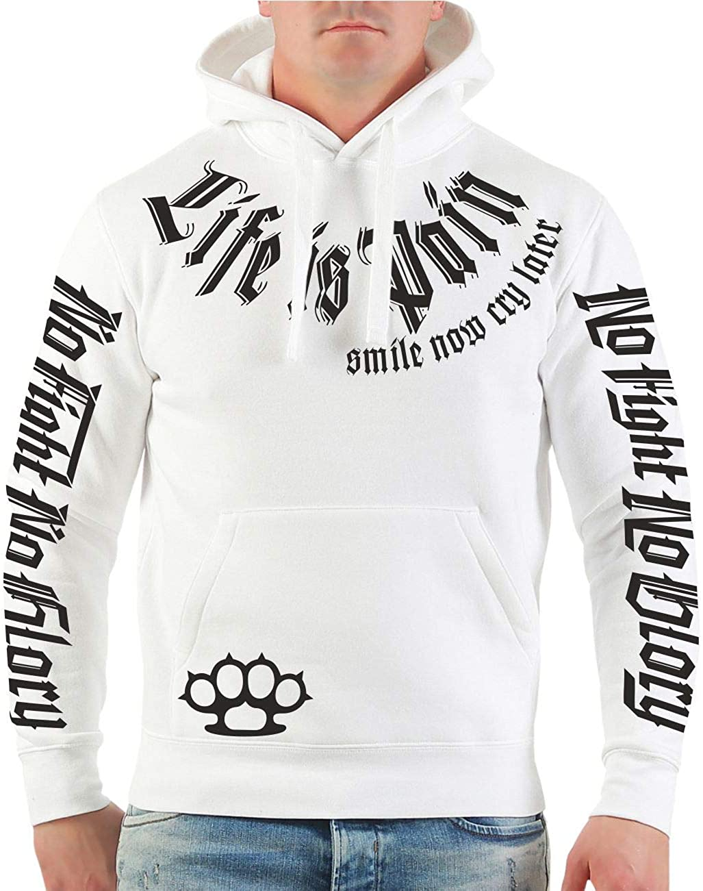 Gr/ö/ße S mit R/ückendruck M/änner und Herren Kapuzenpullover Smile Now Cry Later SCHWARZ 4XL