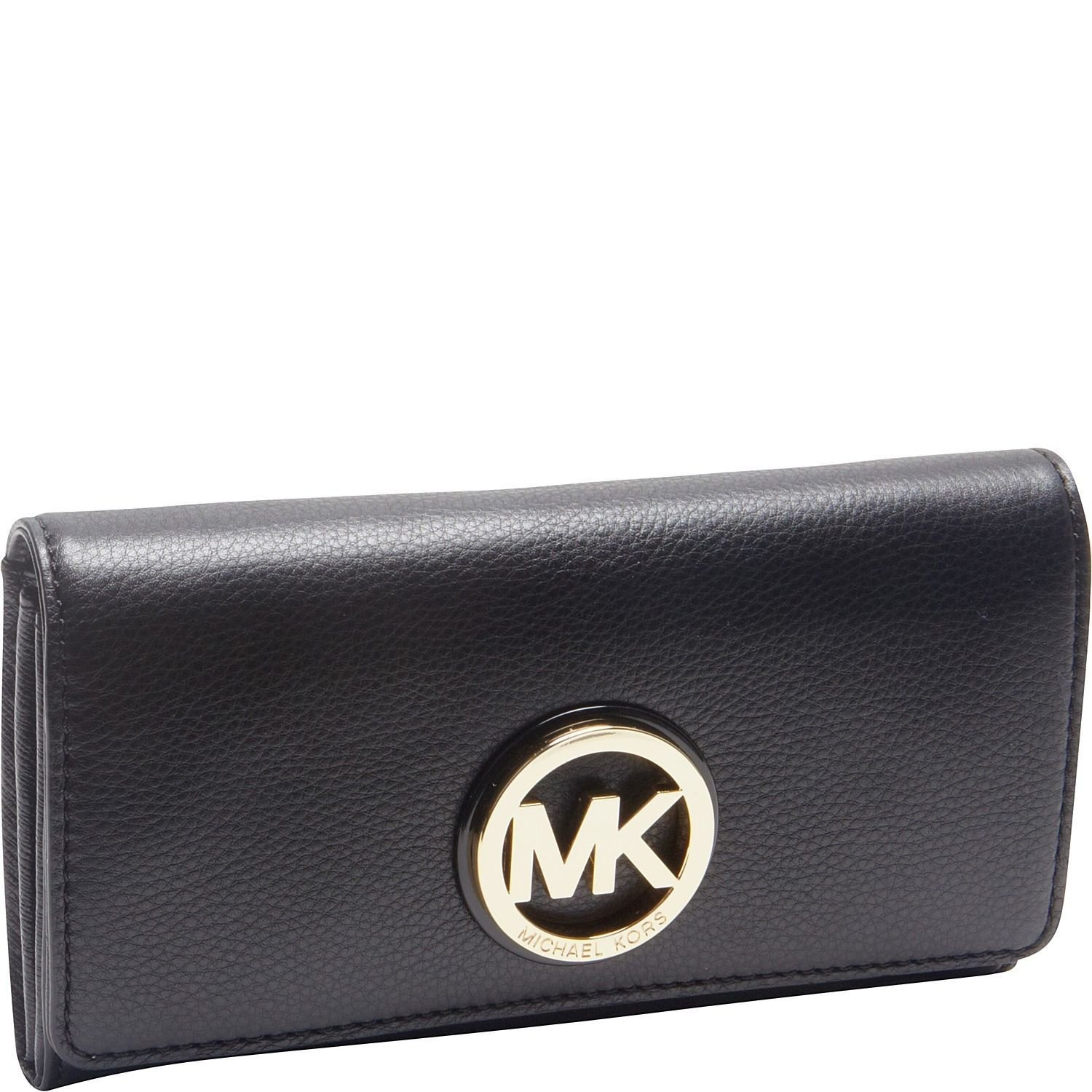 Amazon.com: Michael Kors Fulton Carryall Black Leather Wallet with Silver  Hardware Mk 32f2sfte3l: Clothing