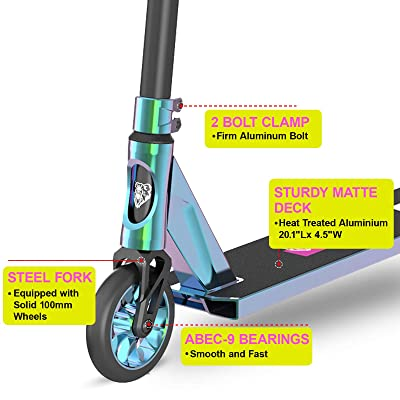 Stunt Scooters 110mm Alloy Scooter Wheels,Colord Grips,Durable V4 Pro Scooter Smooth Inter BMX Tricks Scooters for Kids Boys Girls Kids Youth Adults Freestyle Scooters