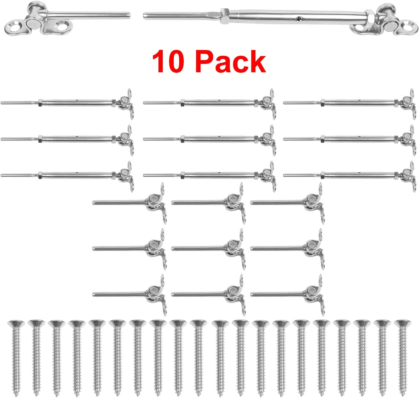 10Pack 316 Stainless Steel Cable Railing Kits fit 1//8 Stainless Steel Wire Rope Cable,Deck Toggle Turnbuckle /& Deck Toggle End for Stair Deck Railing Tool/&Home