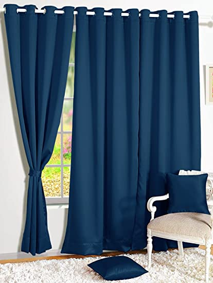 Story@Home Premium Blackout Solid 2-Piece Faux Silk Window Curtain Set - 5ft, Navy Blue
