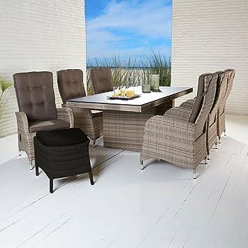 La Casa Di Caesar Polyrattan Tischgruppe Turin Natur Tisch 6 Stuhle Gartenmobel Set