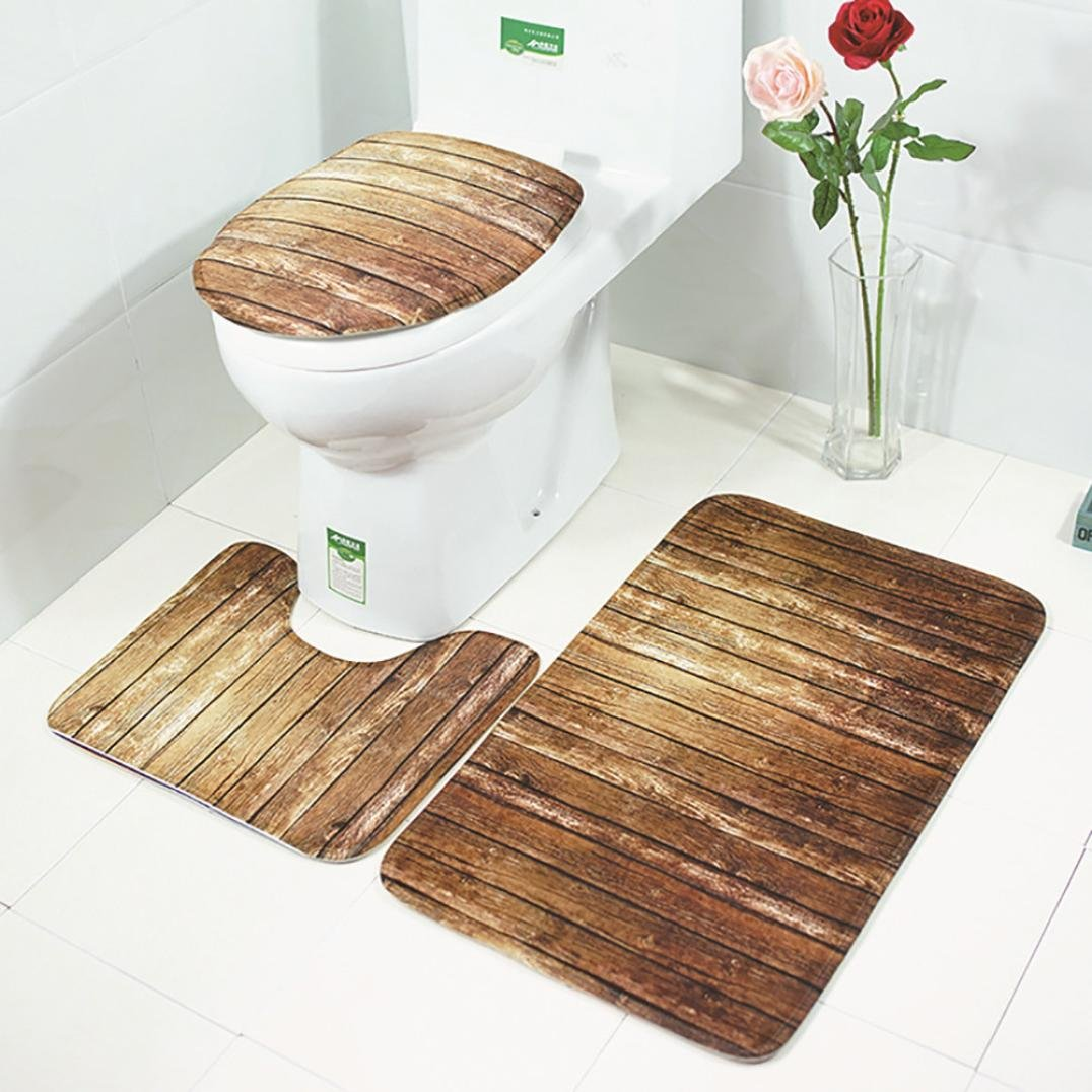 PrettyW 3Pcs Bathroom Set,Wood Grain Rug + Lid Toilet Cover + Bath Mat (Wood Grain) by PrettyW