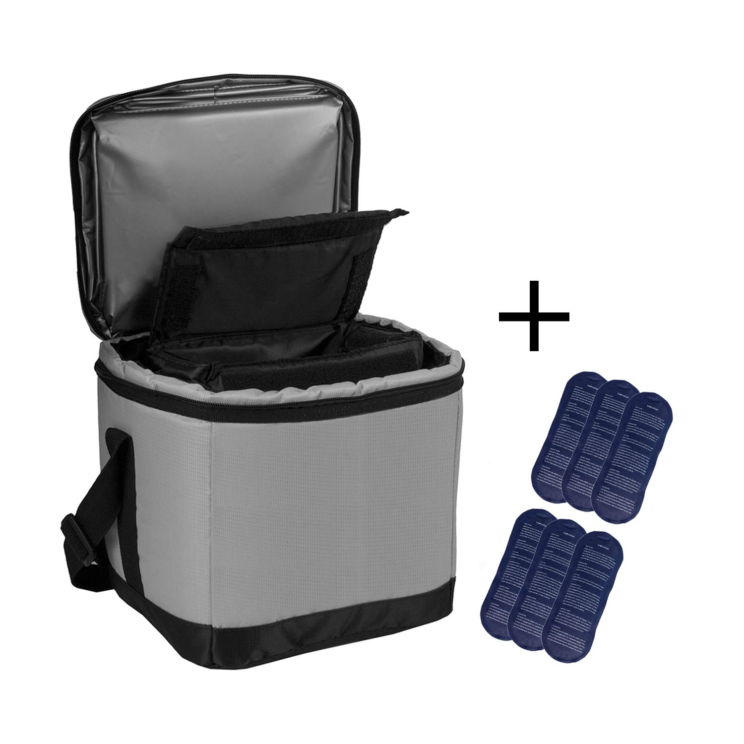 ALLCAMP Large Thicken Cooler Bag Diabetic Organizer Multifunctional Medical Bag Cooler Crossbody Bag with a Detachable Bag and 6 Ice Packs Gray