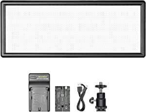 Neewer Super Slim Bi-Color Dimmable LED Video Light with LCD Display, 2600mAh Li-ion Battery and Charger - Ultra High Power LED Panel, 3200K-5500K for Camera Photo Studio Portrait Video Photography