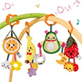 TUMAMA Baby Toys for 3 6 9 12 Months,Hanging Fruit Rattles Avocado,Banana,Orange and Strawberry,Stroller Mobile Toys,Plush Soft Rattles for Boys and Girls Birthday,, 4 Pack