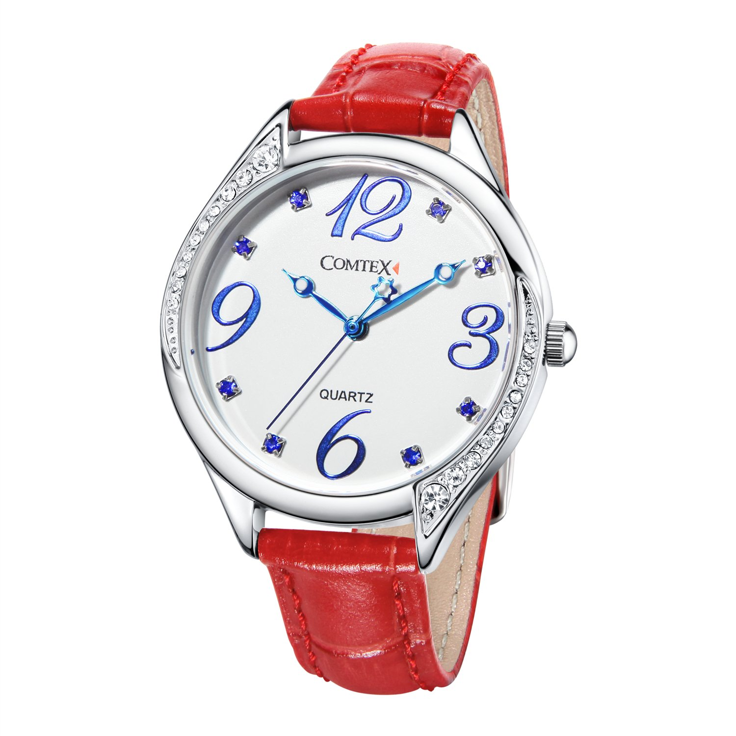 fa8392dc9 Amazon.com: Comtex Watches for Lady Red Leather Strap Womens Easy to Read  Waterproof Watches with Large Numbers: Watches