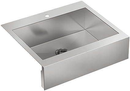 kohler vault 30 single bowl 18 gauge stainless steel apron front rh amazon com  undermount apron front kitchen sink