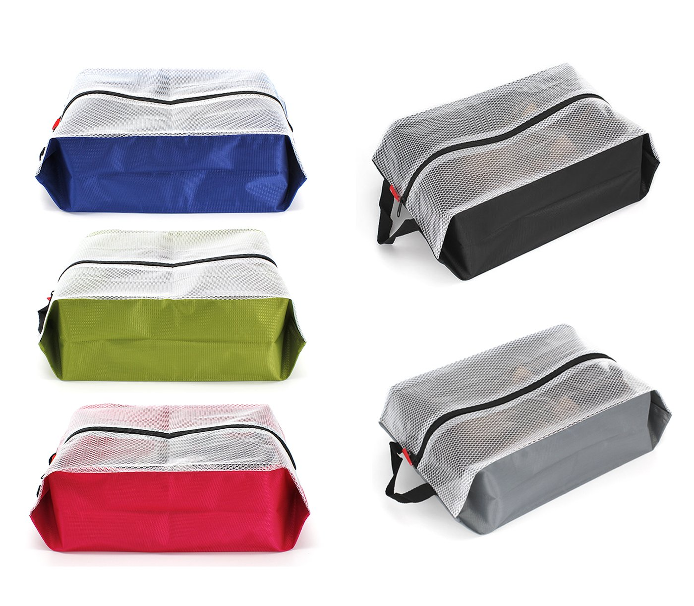 LETLAX Travel Shoe Bags Waterproof Nylon for Women & Men,Shoe Tote bags for Sport Gym,5 PCS (Multicoloured)