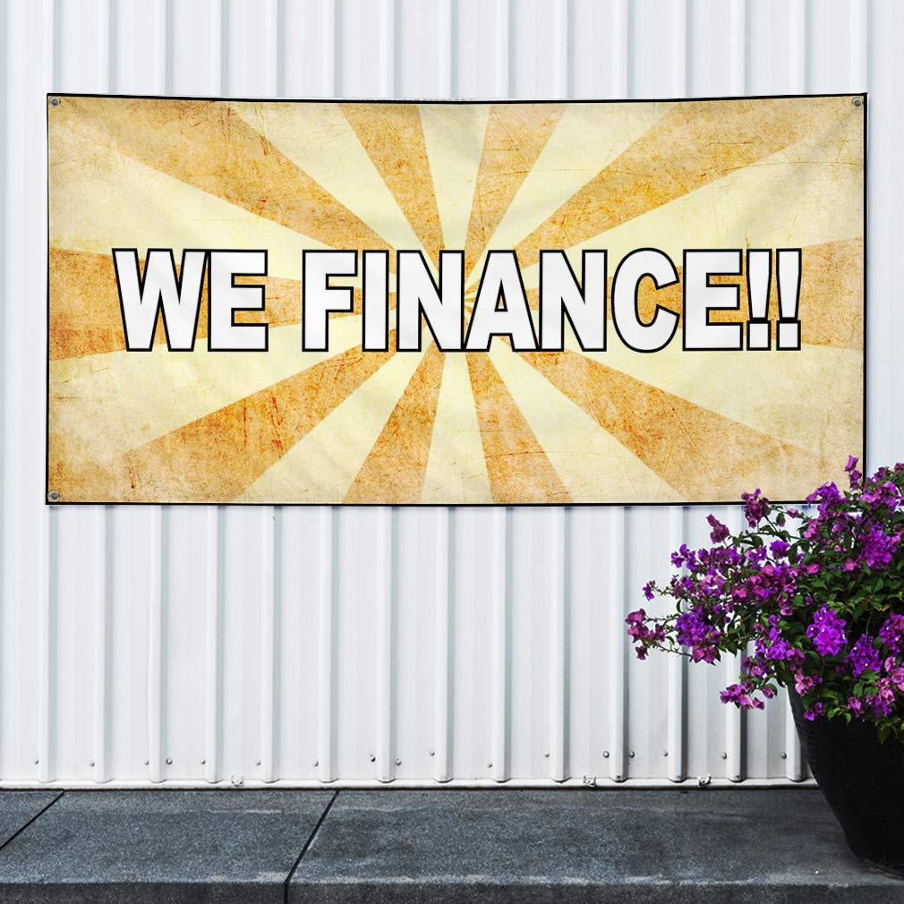 Set of 2 Multiple Sizes Available 32inx80in 6 Grommets Vinyl Banner Sign We Finance Yellow White1 Business Outdoor Marketing Advertising Yellow