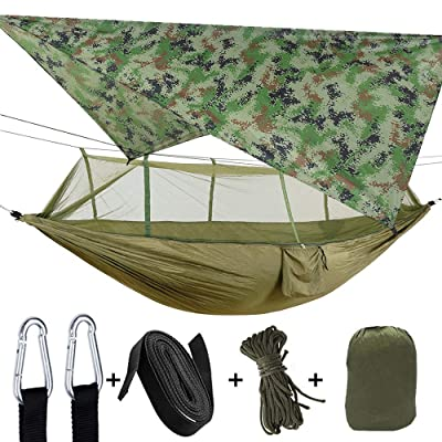 TOPCHANCES Upgrade Ultralight Portable Nylon Camping Hammock Mosquito Net with Rain Fly Tent Tarp for Outdoor Windproof, Anti-Mosquito, Swing Sleeping Hammock Bed (Army Green): Sports & Outdoors