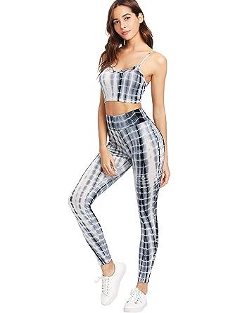 7d777461367f28 SweatyRocks Women s Two Piece Outfits Tie Dye Crop Top Leggings Set  Tracksuit at Amazon Women s Clothing store
