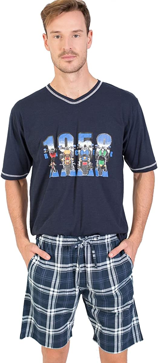 MASSANA - Pijama DE Hombre DE Verano 100% Algodon - Azul, S: Amazon.es: Ropa y accesorios