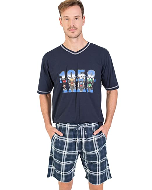 Pijama Hombre Verano Algodón Estampado Motos (P181304) (M)