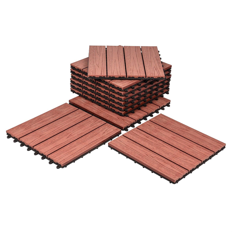 Composites Decking Flooring Solid Wood - Plastics Interlocking Flooring Deck Tile Printed Wood for Indoor and Outdoor (Pack of 10)