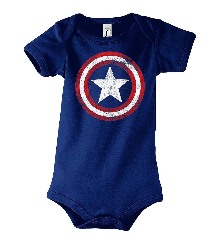 Gr/ö/ße 3-24 Monate in vielen Farben Baby Jungen /& M/ädchen Kurzarm Body Strampler Modell Vintage Captain America