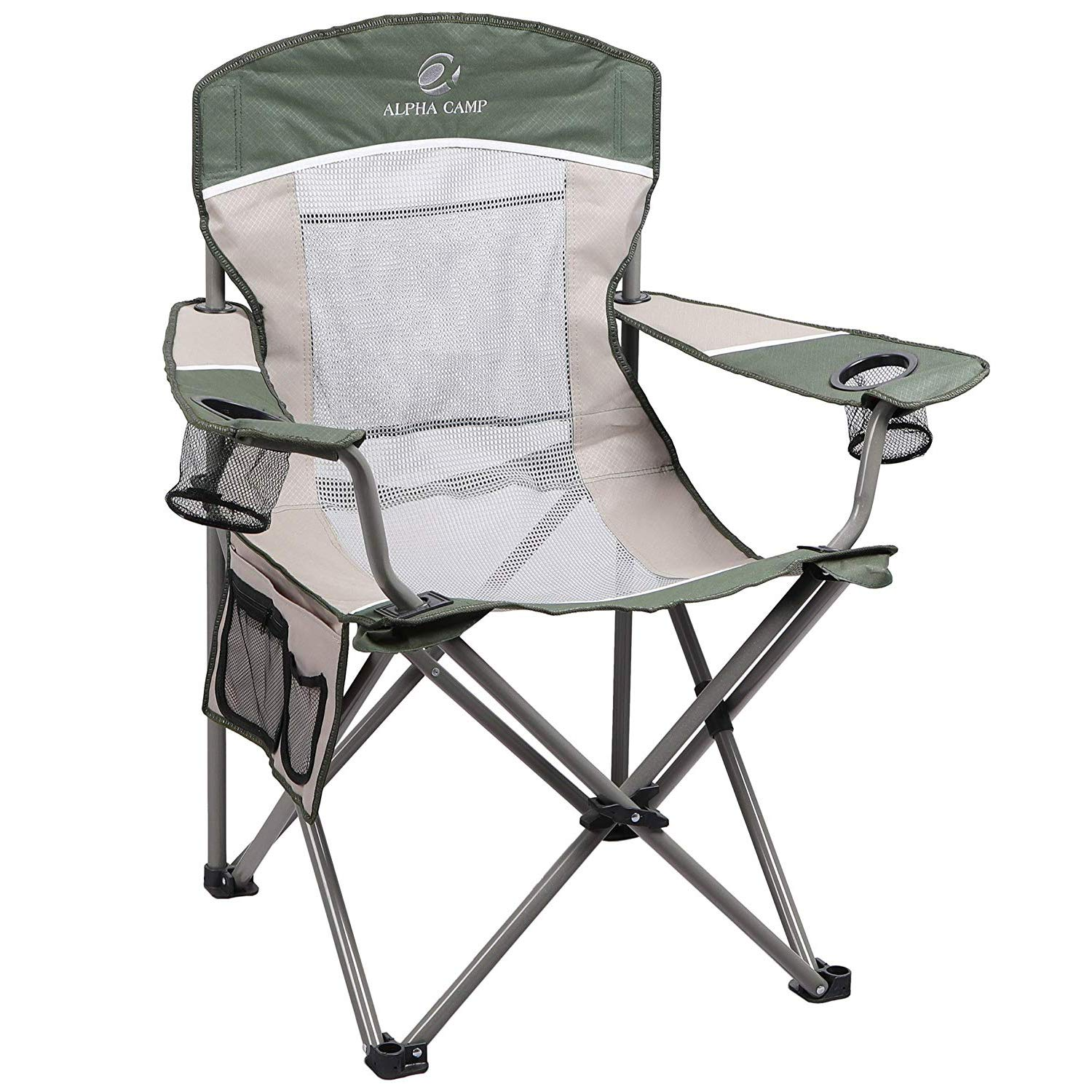 ALPHA CAMP Oversized Mesh Back Camping Folding Chair Heavy Duty Support 350 LBS Collapsible Steel Frame Quad Chair Padded Arm Chair with Cup Holder Portable for Outdoor Green//Brown