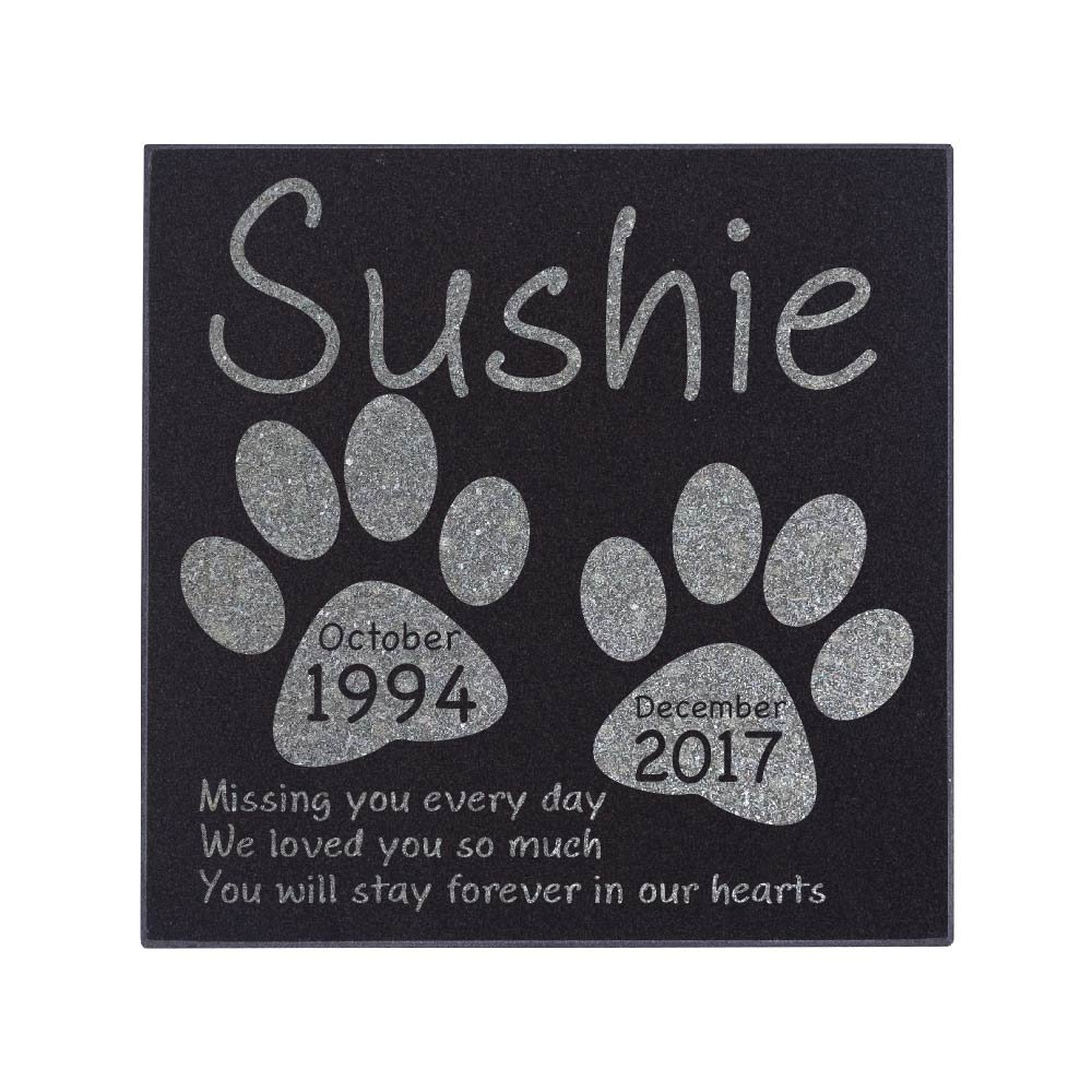 Memorial Pet Headstone - Loyal Companion, Dog and Cat Personalized Custom Granite Grave Marker D-3 by CustomizationMill