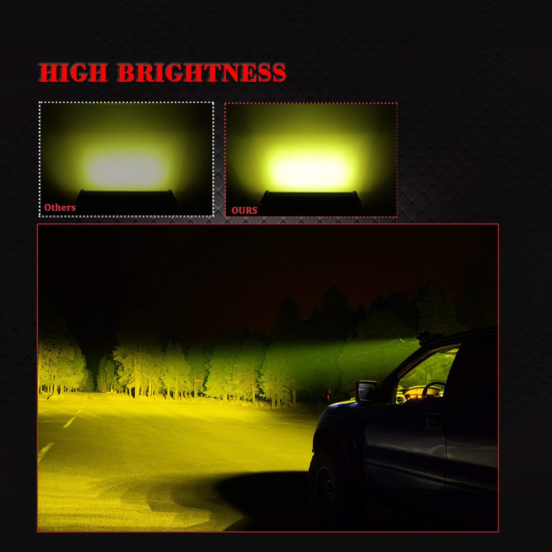 7 Inch Led Light Bar Samlight 12v 13824 LM Quad Row Pod SpotLights Off Road Yellow Fog Driving Led Work Lights for UTV ATV Off Road Jeep Trucks Boat SUV Waterproof Lamp 2 Pack 4350385682